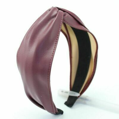 Burgundy Embossed Faux Leather Headband