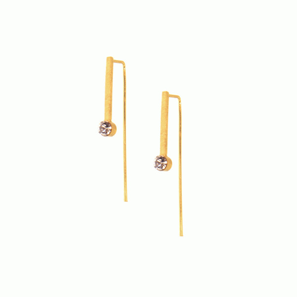 Gold Scratched Bar Crystal Earrings