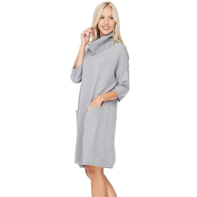 Grey Turtleneck Soft Dress