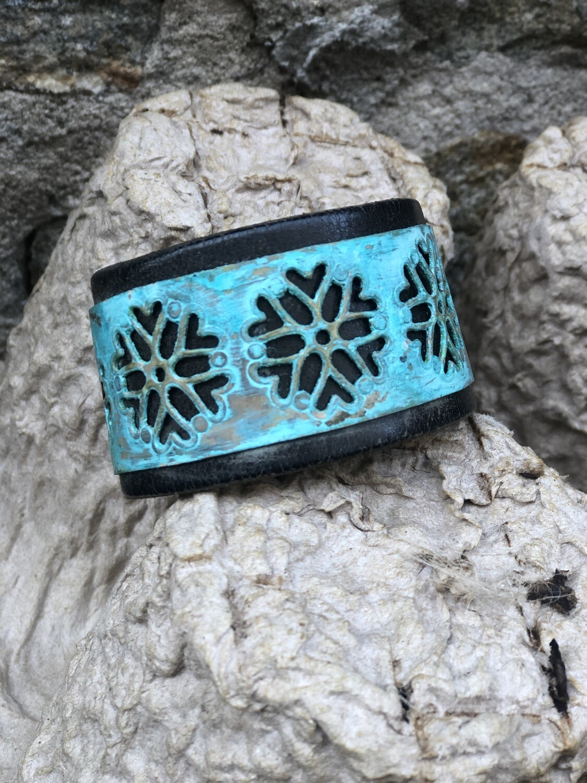Blue Snowflake Leather Cuff