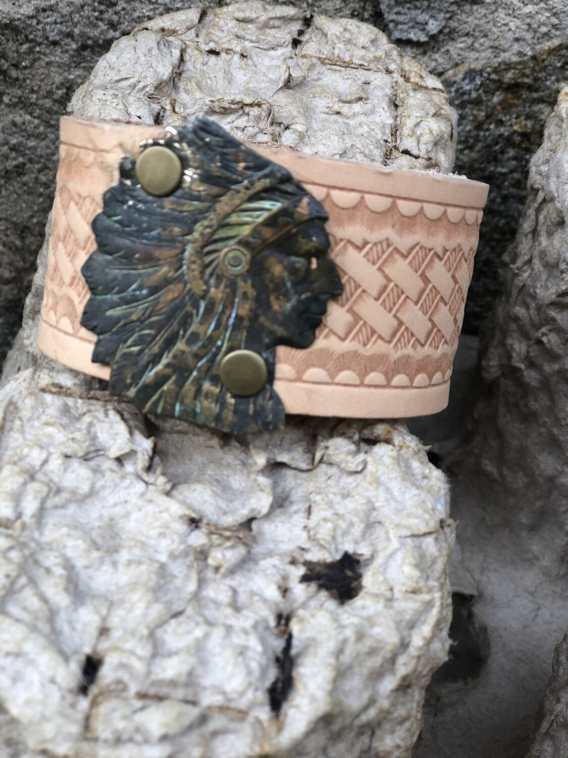 Indian Chief Leather Cuff