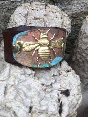 Copper Bee Leather Cuff