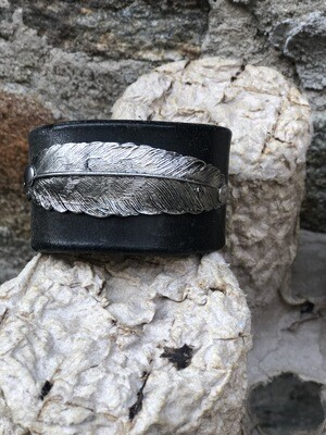 Silver Feather Leather Cuff