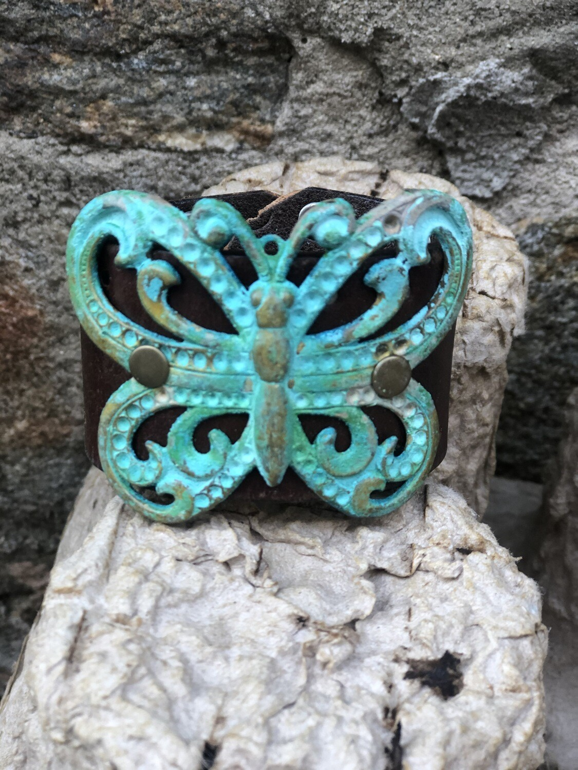Turquoise Art Deco Butterfly Leather Cuff