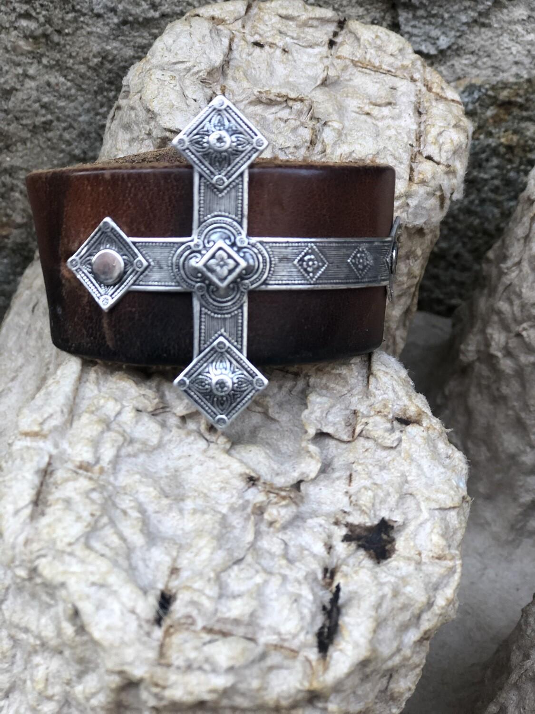 Silver Cross Leather Cuff