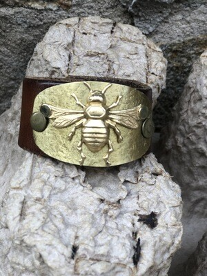 Gold Brass Bee Leather Cuff
