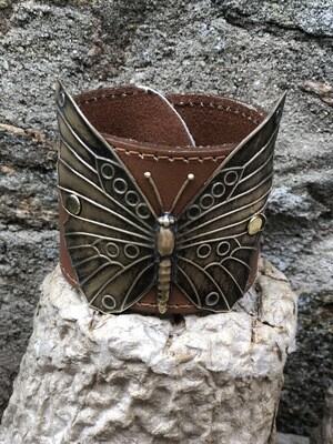 Brass Butterfly Leather Cuff