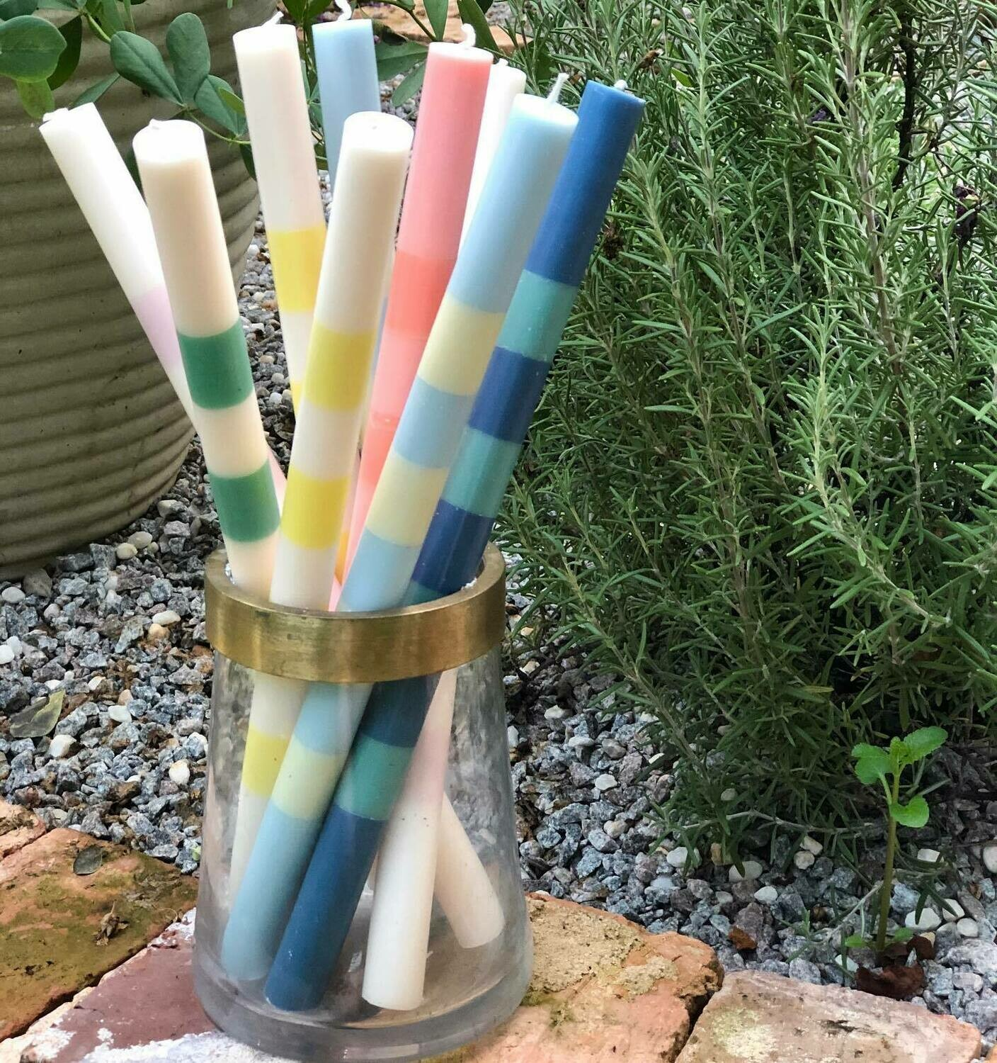 """14"""" Striped Taper Candle"""
