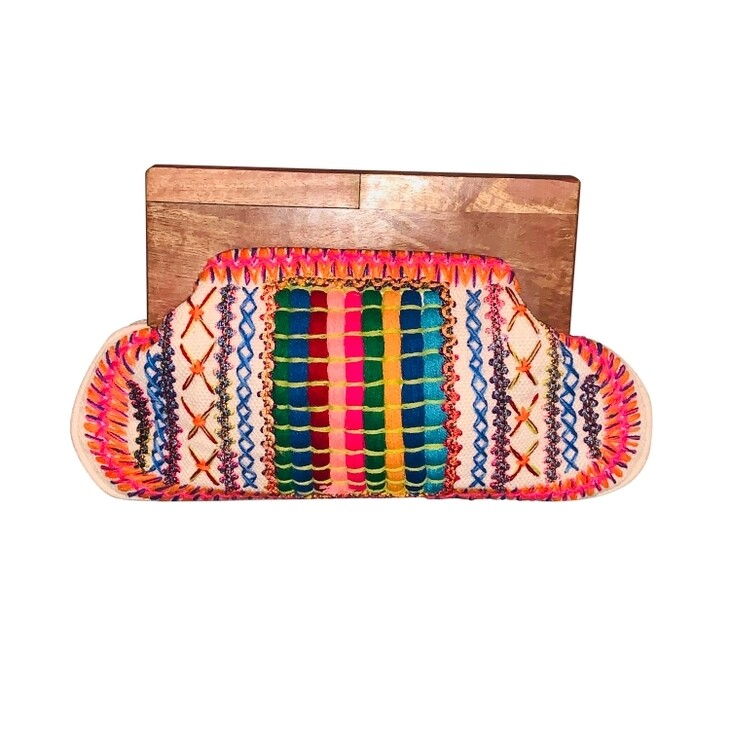 Iris Embroidered Clutch