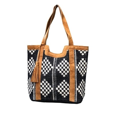 Lucy Leather Trimmed Diamond Tote