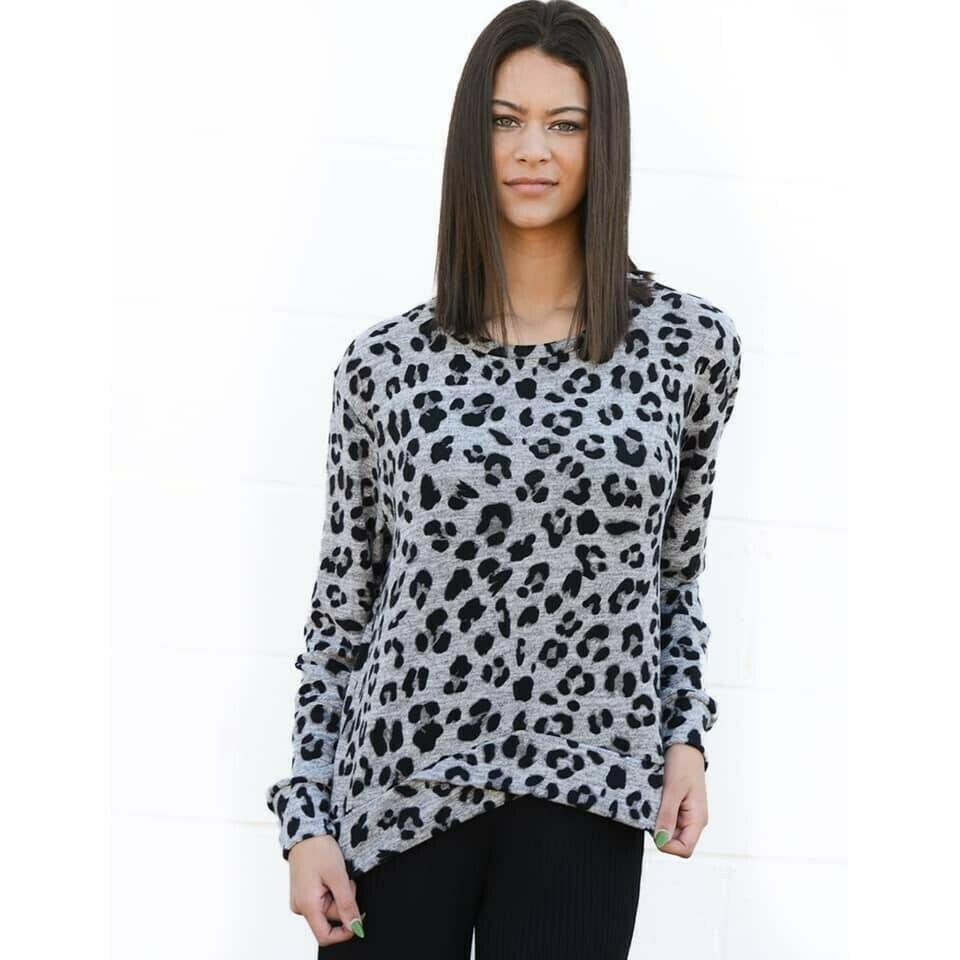 Leopard Crossover Sweatshirt