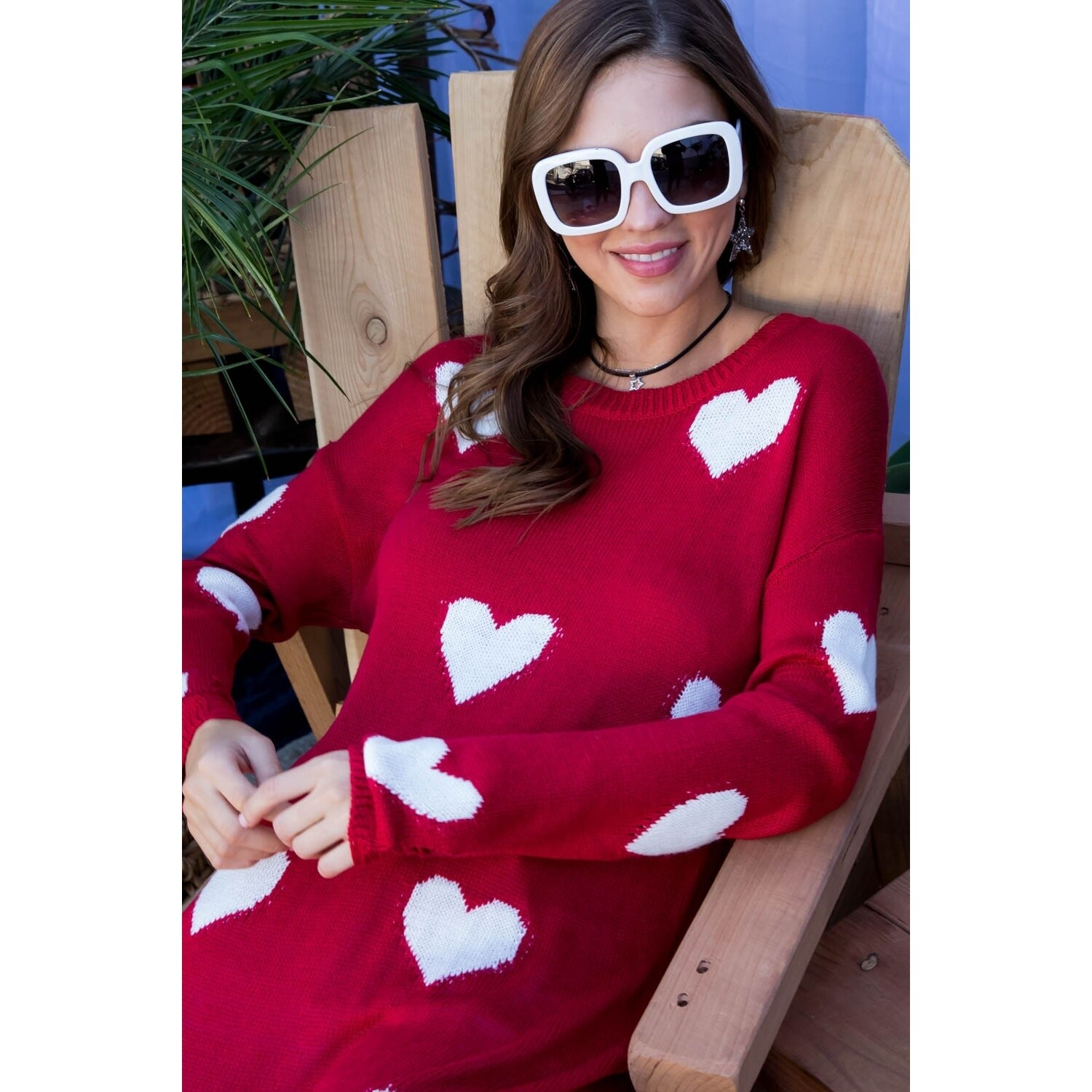 Red & White Heart Sweater Distressed on Bottom