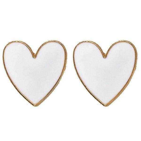 White Enamel Heart Earrings