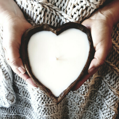 Heart Shaped Wood Dough Bowl Candle