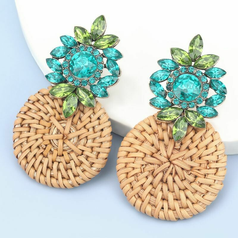 Blue Gem-Studded Round Rattan Woven Earrings
