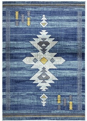 Porto Southwestern Blue Tribal Rug