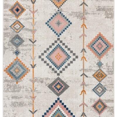Porto Beige Moroccan Multi Color Diamond Rug