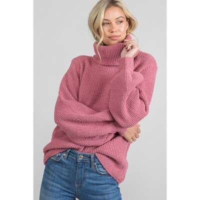 Winter Rose Turtleneck Sweater