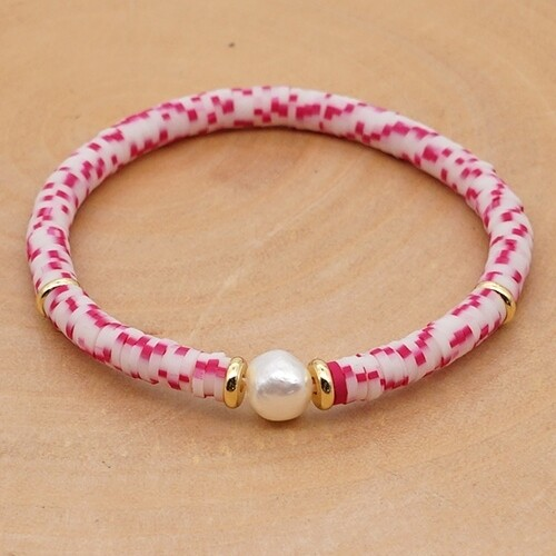 Pink & White Marbled Izzy Pearl Clay Resin Beaded Bracelet