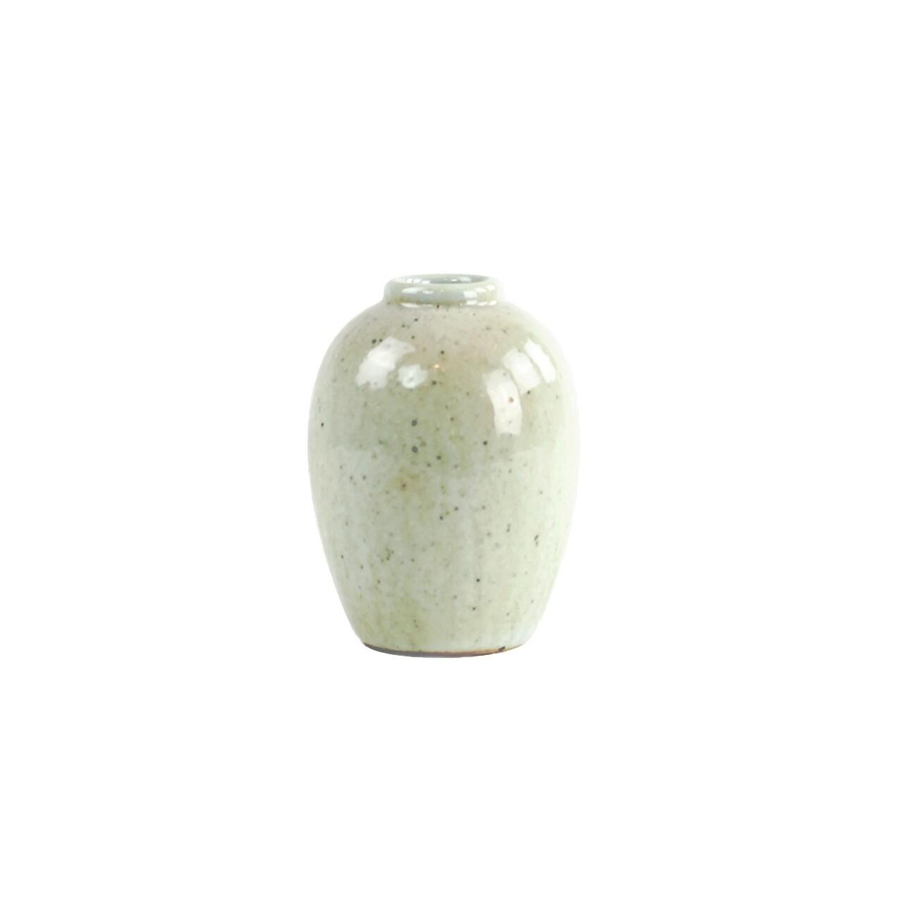 Rustic Blanc De Chine Vase- Acorn