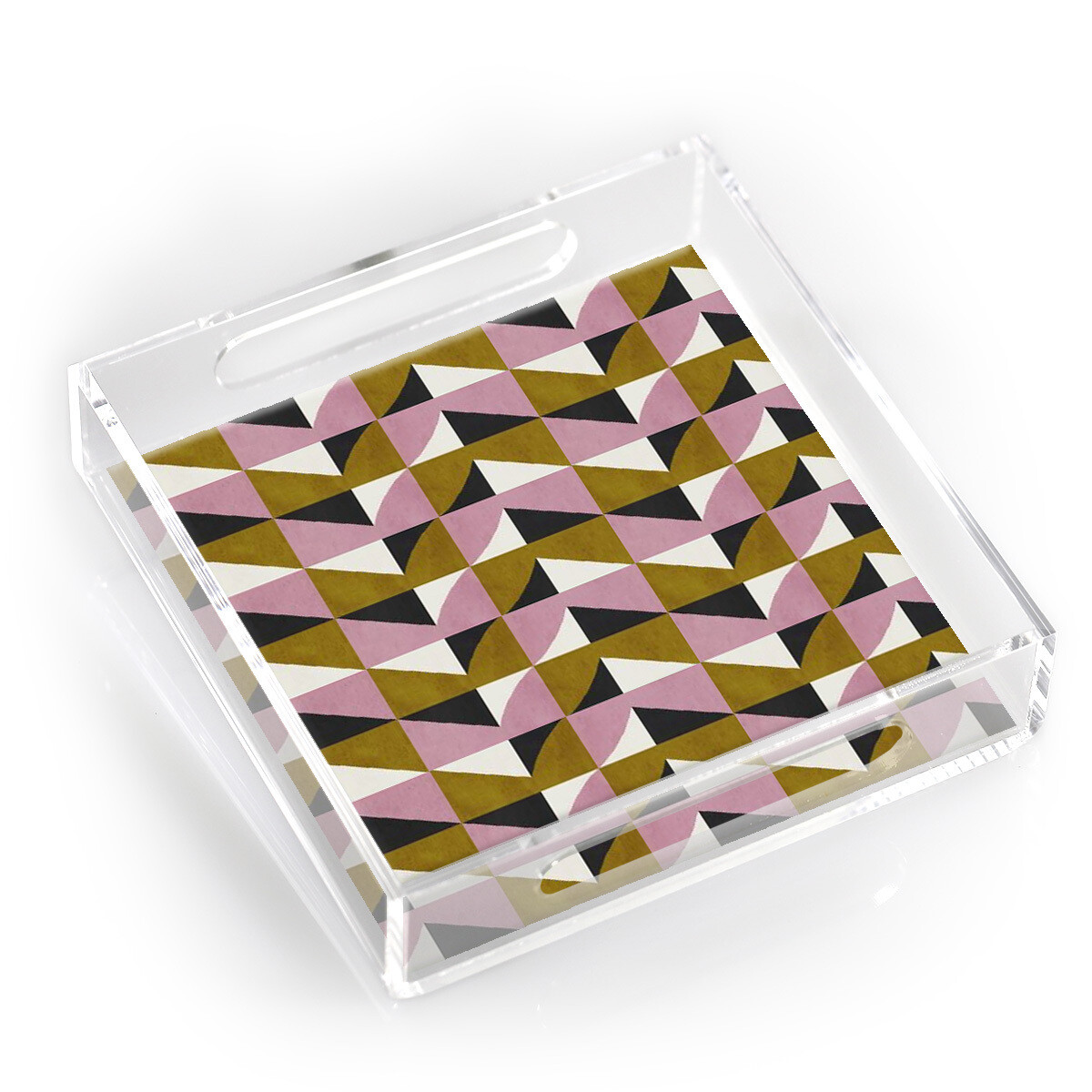 "12"" Lucite Tray-Geometric"