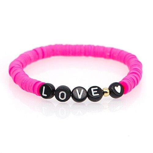 Pink Love Letter Resin Beaded Bracelet