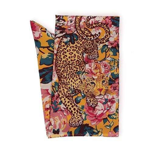 Leopard Floral Satin Neck Scarf