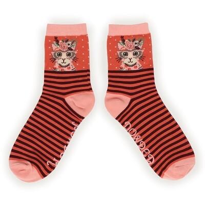 Ladies Socks Floral Kitty