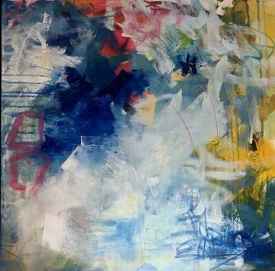 "24""x24"" Blues Study on Canvas Framed"