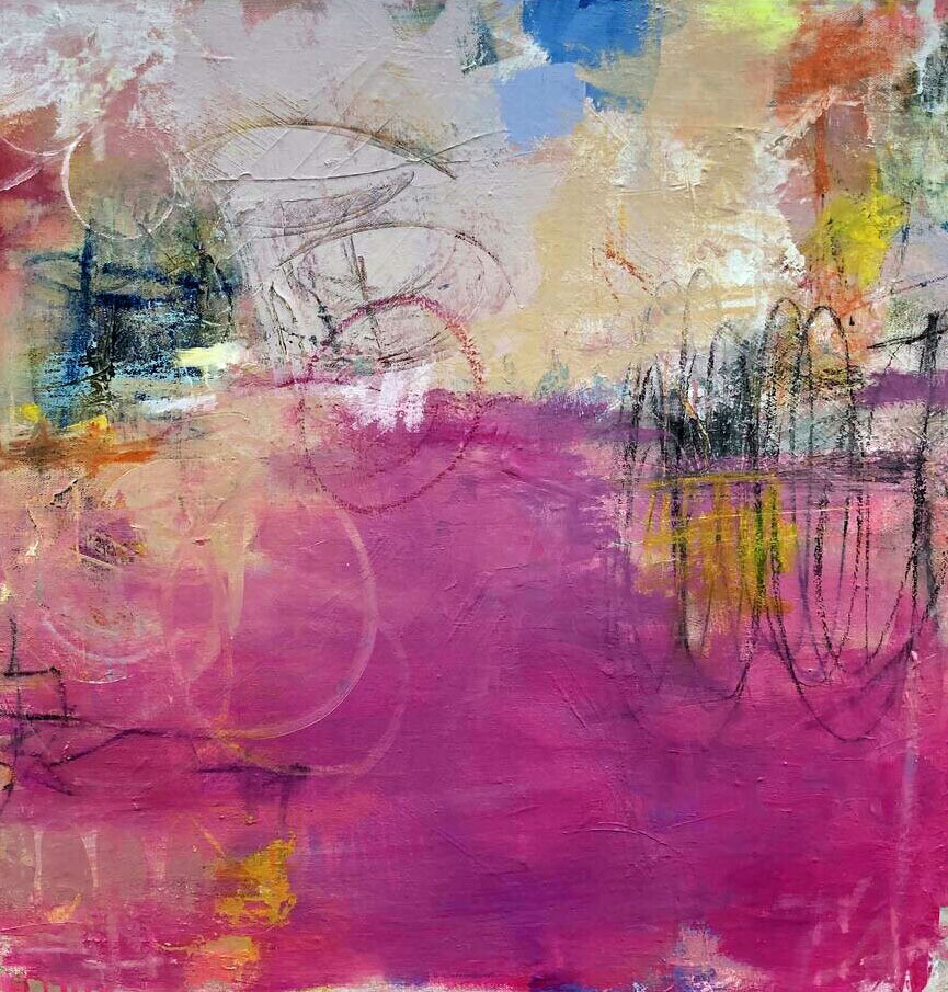 """24"""" Pink Abstract framed in Birch Wood"""