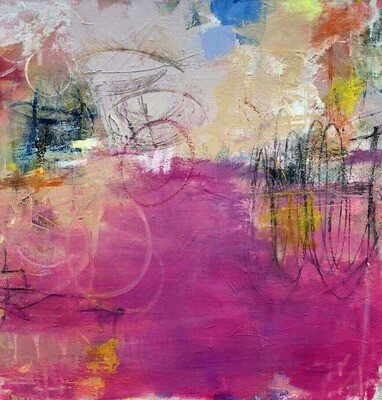 """24""""x24"""" Pink Abstract framed in Birch Wood"""