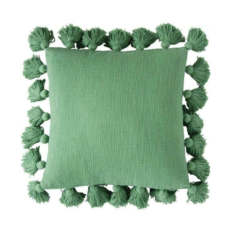 "18"" Green Pillow with Tassels"