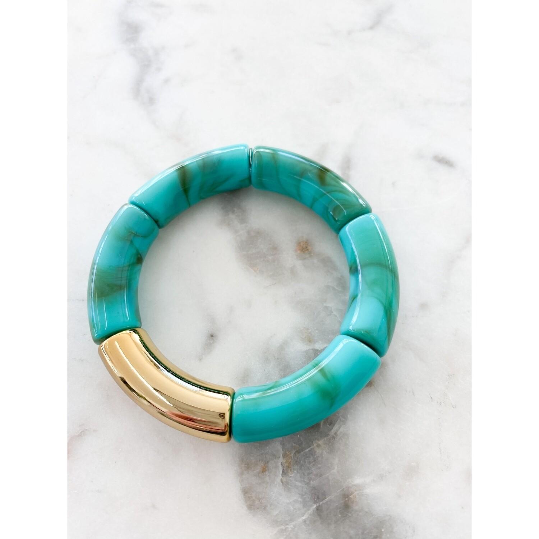 Turquoise Acrylic Bamboo Bangle Bracelet