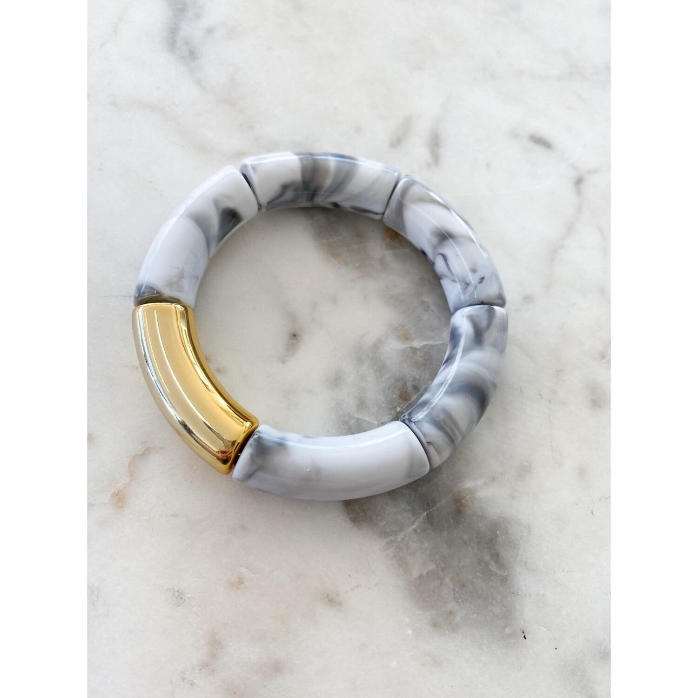 Marbled White Acrylic Bamboo Bangle Bracelet