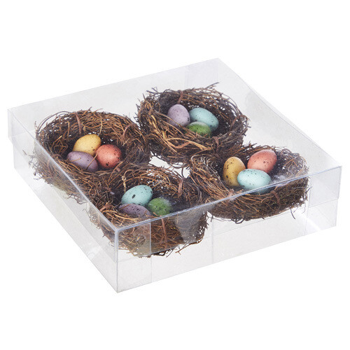 Box of 4 Nests with Eggs