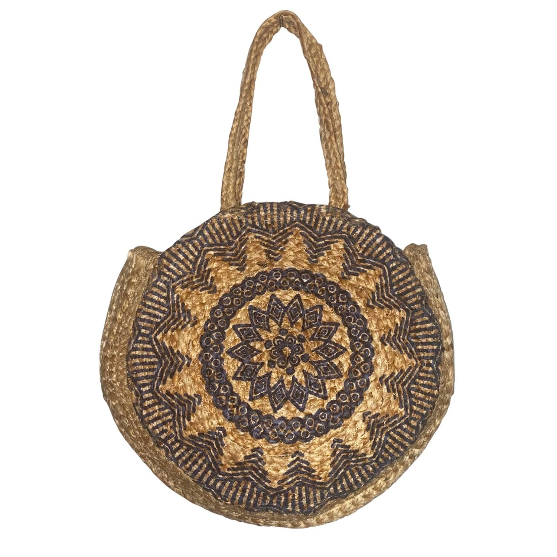 Jute Mandala Round Bag
