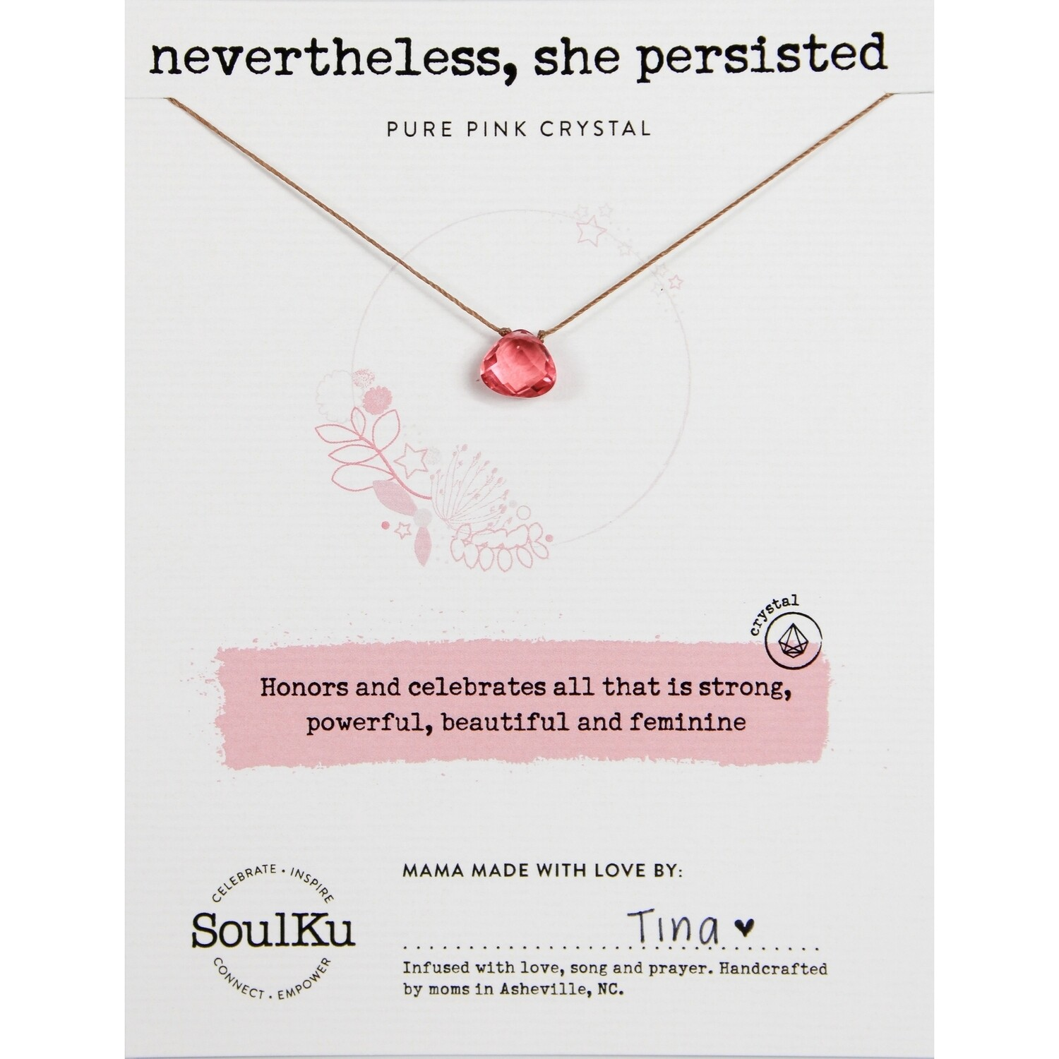She Persisted: Pink Crystal Necklace