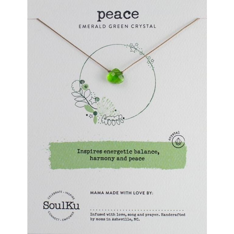 Peace: Emerald Green Crystal Necklace