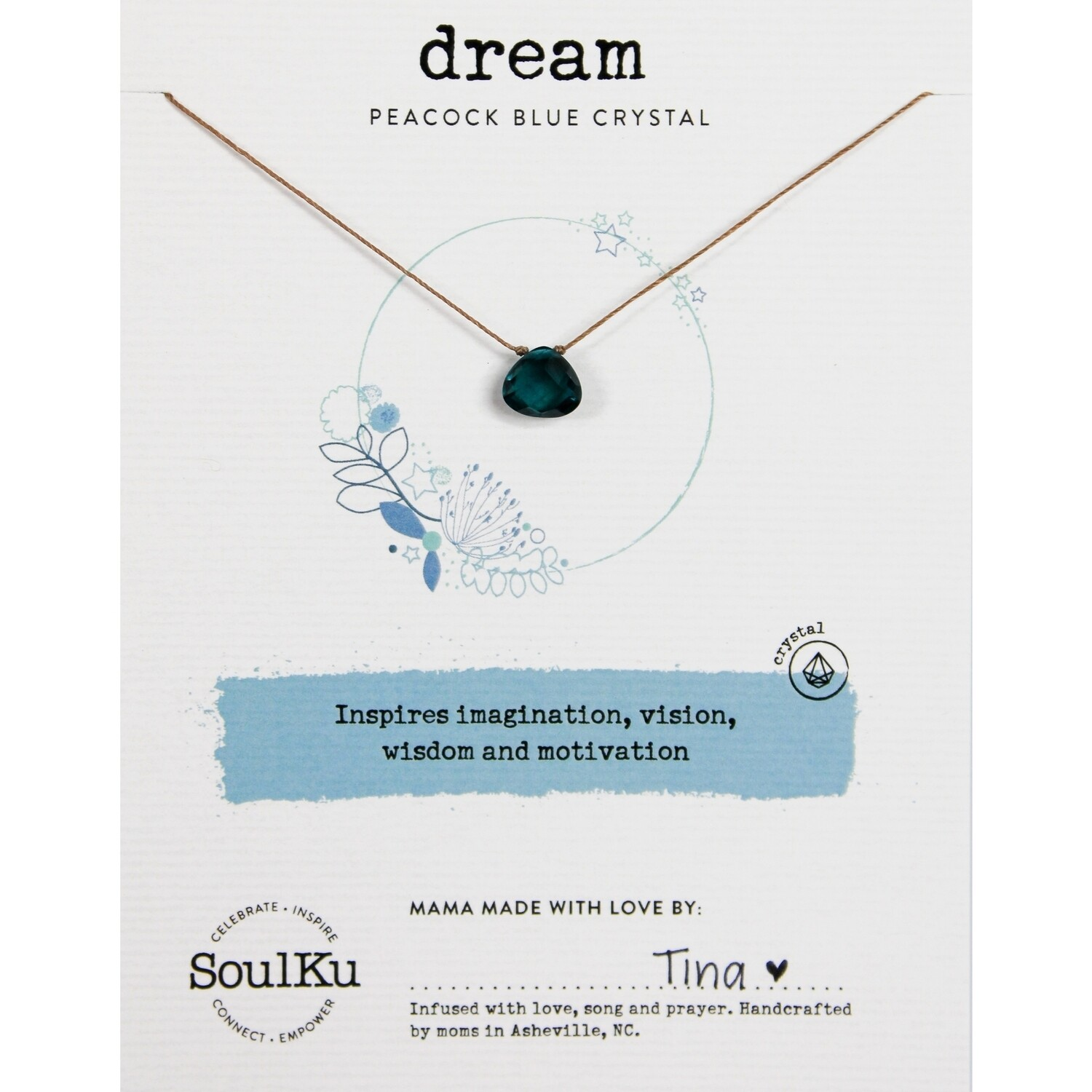 Dream: Peacock Blue Crystal Necklace