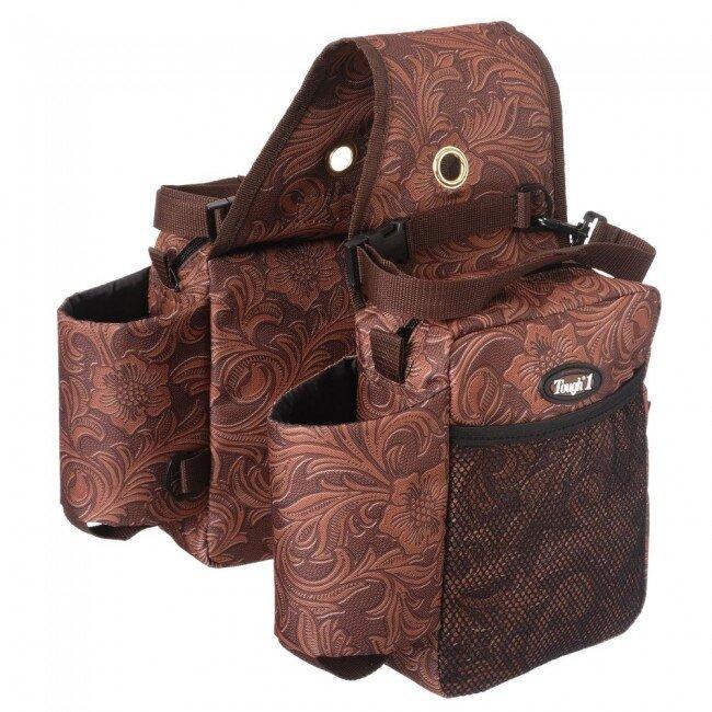 Bruine zadeltas in  'Tooled Leather print