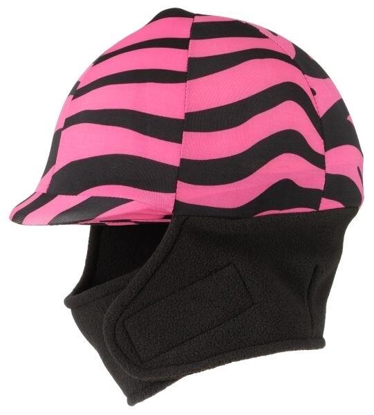 Winter cap cover met fleece zebra roze