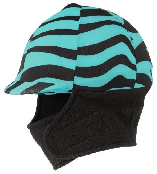 Winter cap cover met fleece zebra aqua