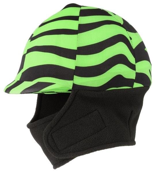 Winter cap cover met fleece zebra groen
