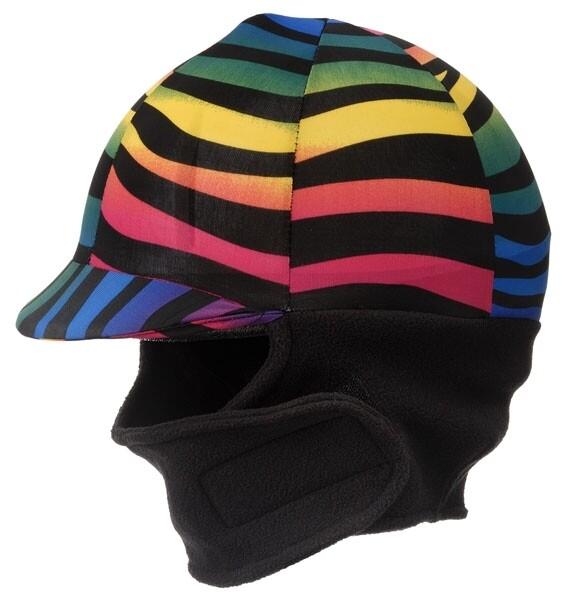 Winter cap cover met fleece, rainbow zebra