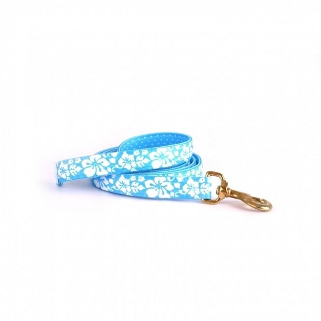 Island Floral Blue on Blue Polka