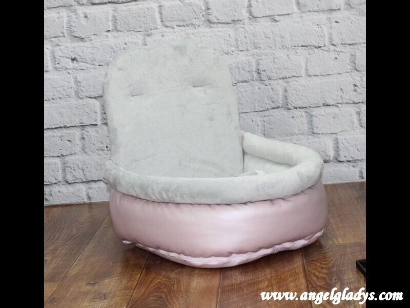 Autostoel metallic roos/grijs groot
