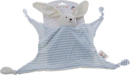 Knuffeldoek konijn blauw/wit