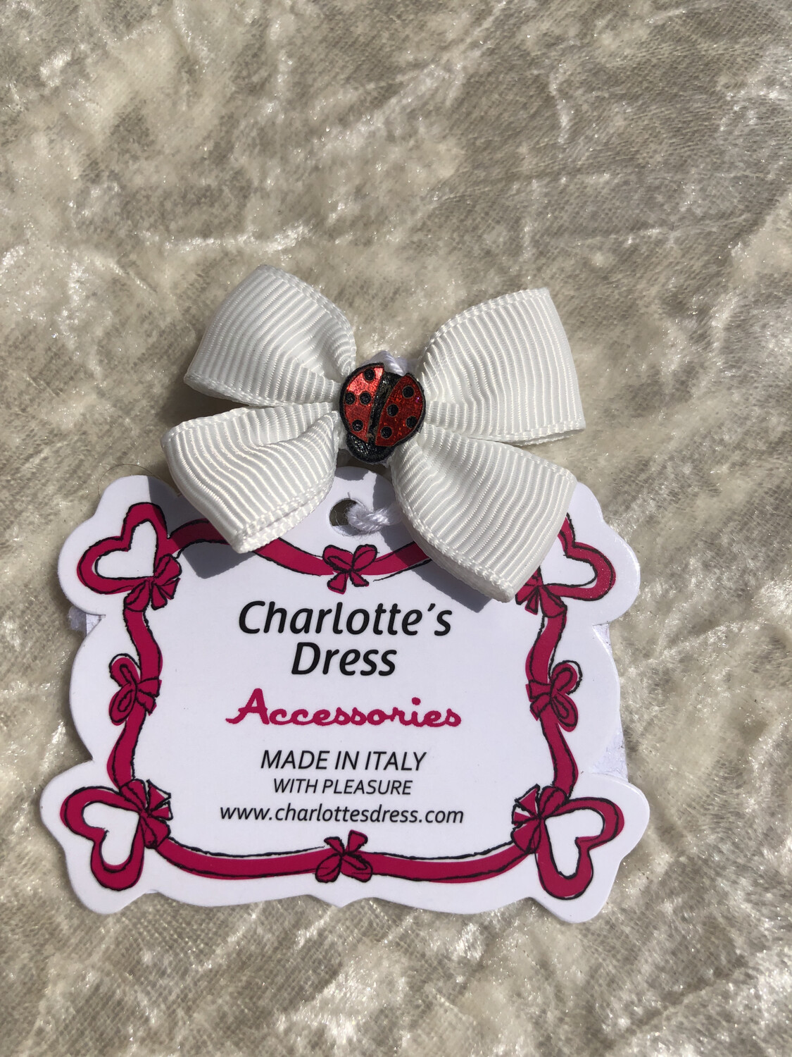 Hairclip Lady Bugs White
