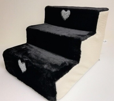 Stair white black steps + hearts