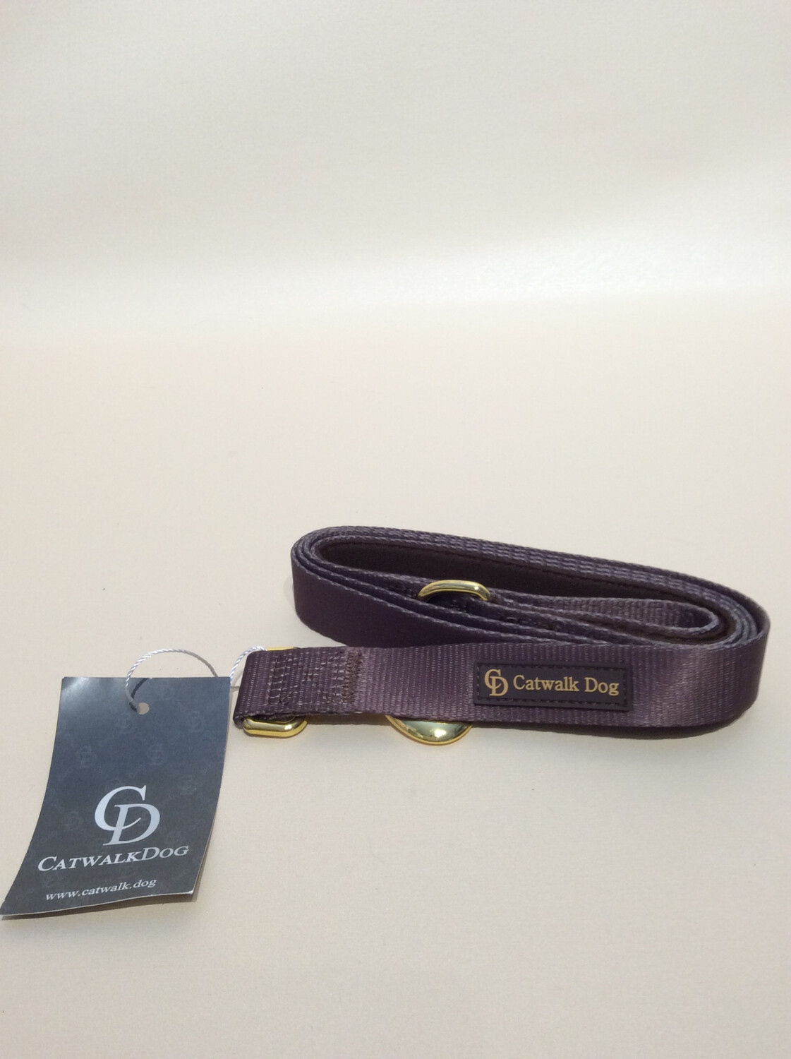 Canvas leash brown/gold